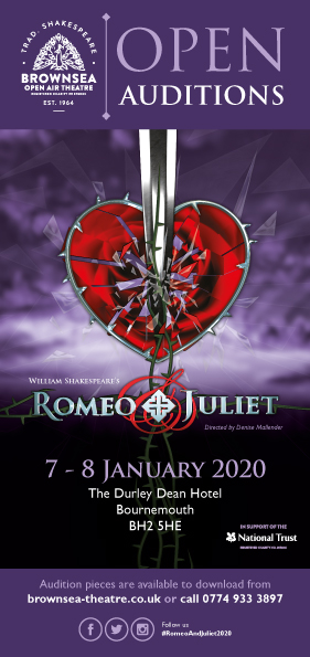 Audition Leaflet (front). Romeo and Juliet Open Auditions 7-8 January 2020. Durley Dean Hotel. tel: 0774 933 3897