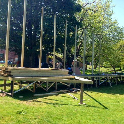 Get Involved - Set Build. A partially constructed set in the field.